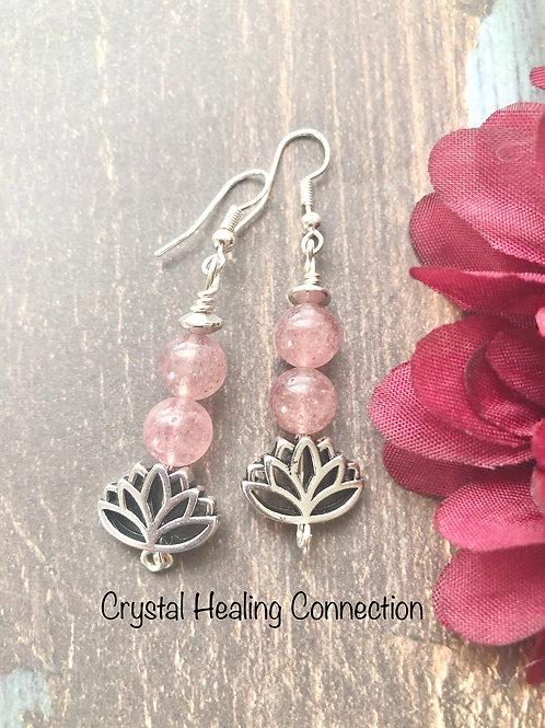 Strawberry Quartz Lotus Earrings