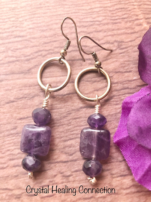 Amethyst Faceted Loop Earrings