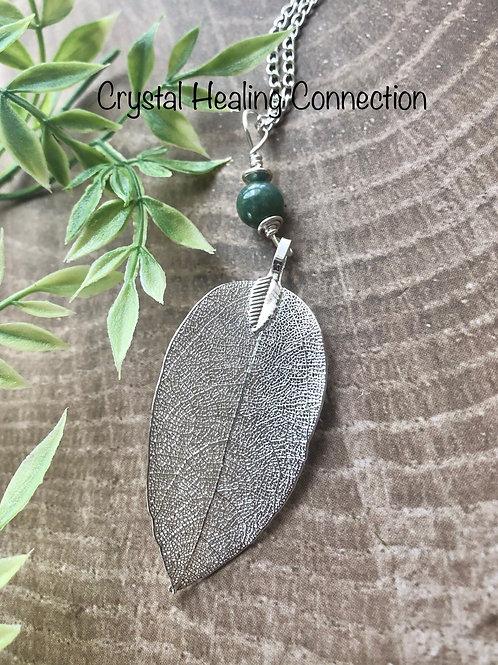 Moss Agate Filagree Leaf Necklace