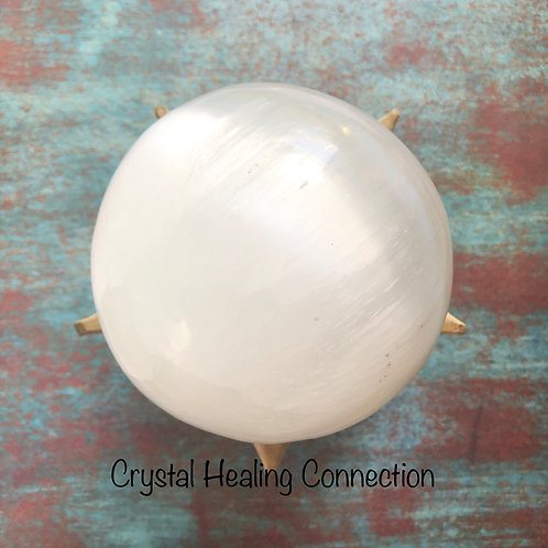 Huge 90mm Selenite Sphere with Stand