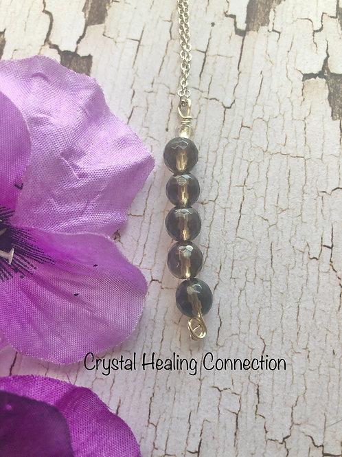 Smokey Quartz 5 Bead Necklace