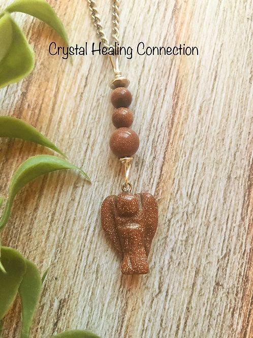 Goldstone Beaded Angel Necklace