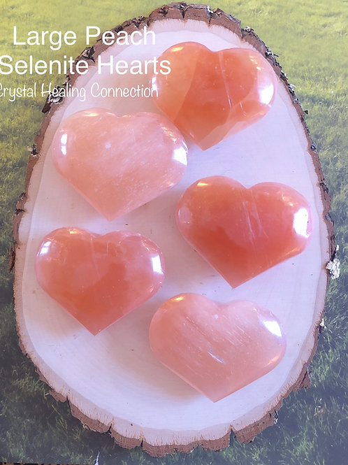 Large Peach Selenite Hearts 3 inch plus