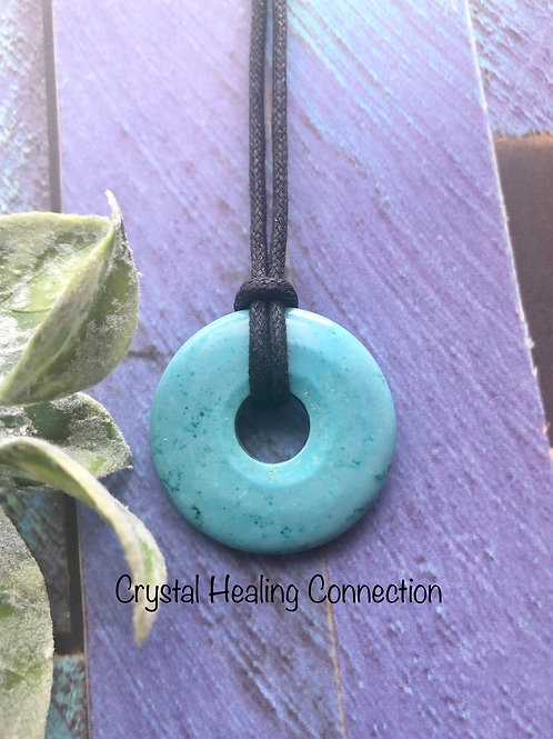 Blue Howlite Pi Stone Necklace