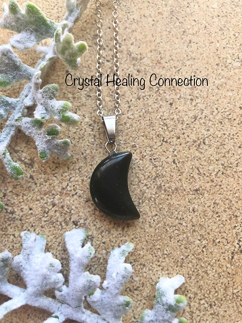 Black Onyx Tiny Half Moon Necklace