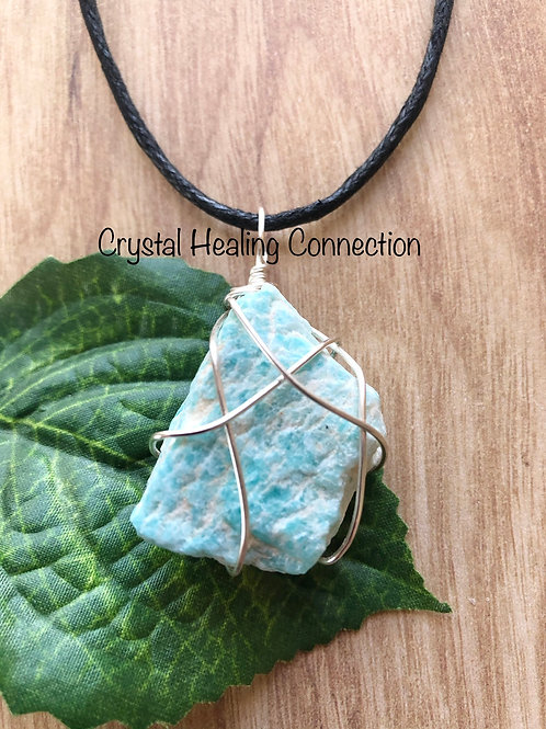 Wire Wrapped Natural Amazonite Necklace