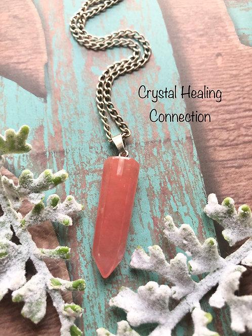 Cherry Quartz Simple Point necklace