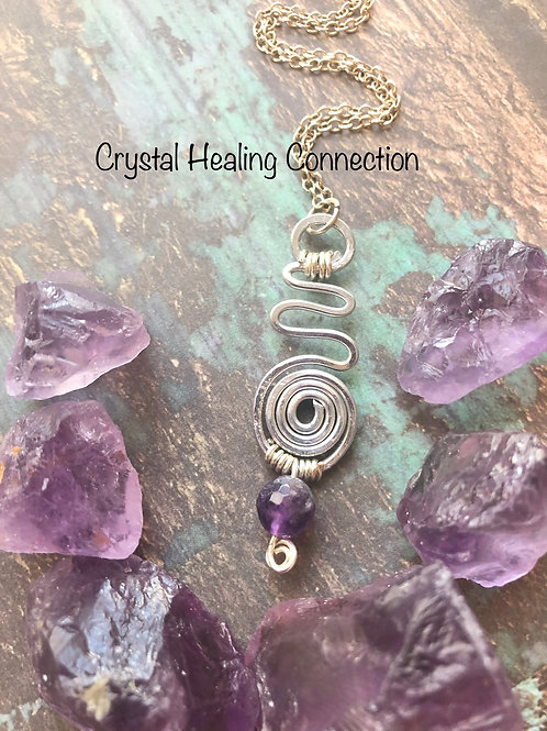 Amethyst Wire Wrapped Swirl Necklace
