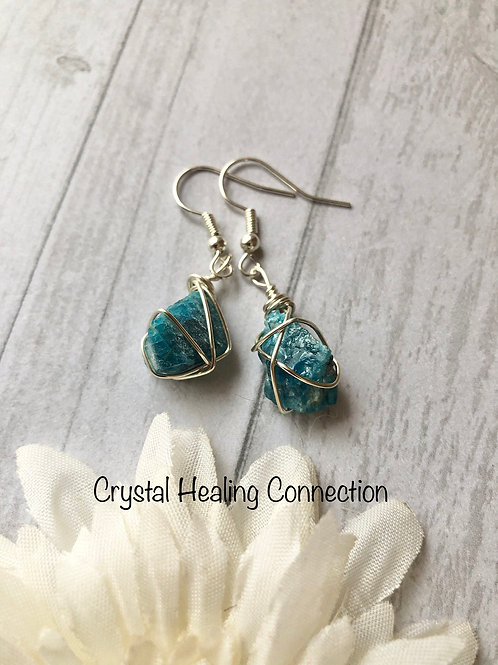 Gemmy Blue Apatite Wire Wrapped Earrings