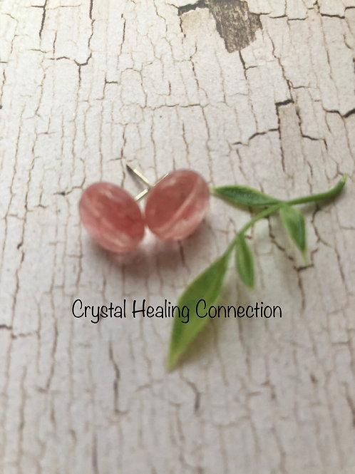 Cherry Quartz Round Stud Earrings
