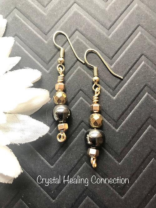 Hematite Gold Beaded Earrings