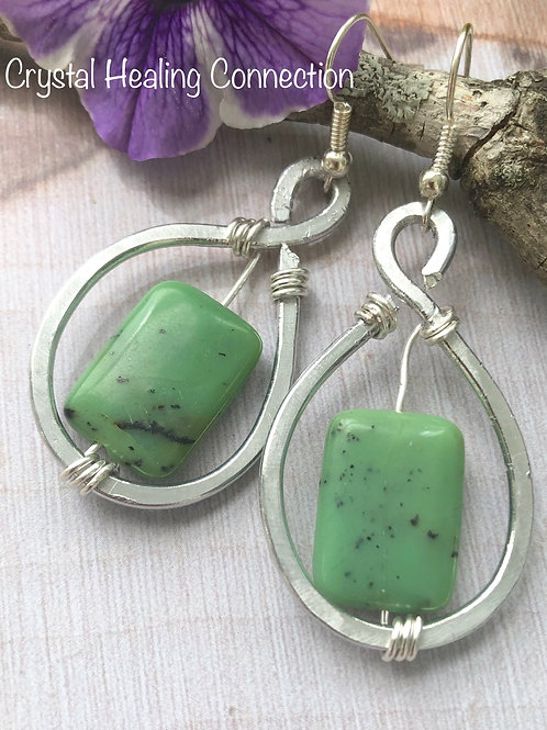 Chrysoprase Wire Wrapped Hammered Earrings