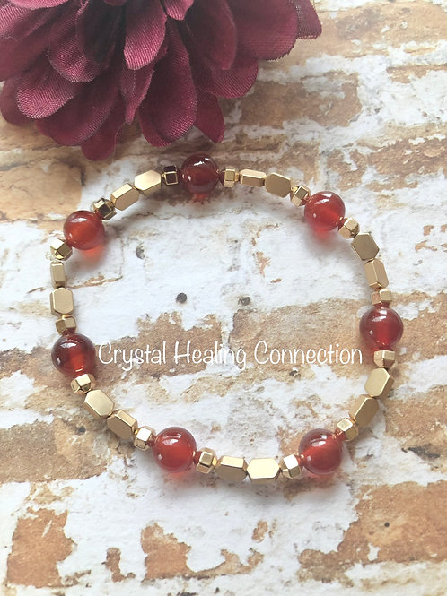 Carnelian Gold Beaded Bracelet size 7.5 inches