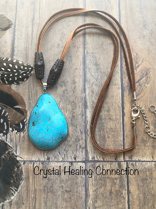 Blue Howlite and WoodNecklace