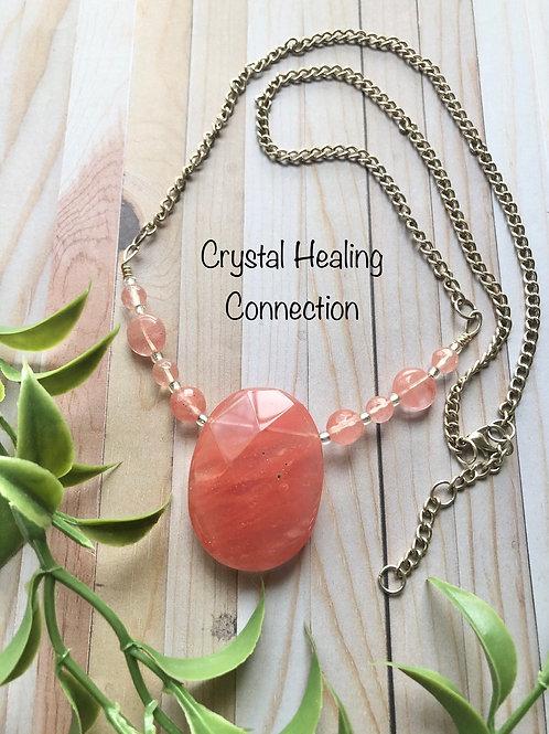 Cherry Quartz Faceted Beaded Necklace