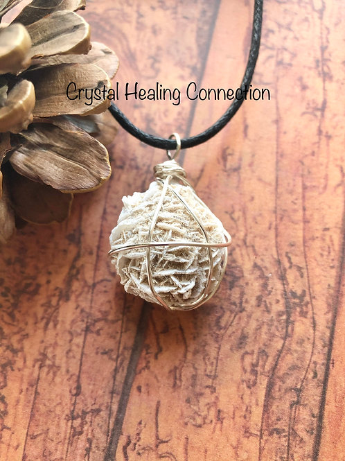 Wire Wrapped Natural Desert Rose Selenite Necklace