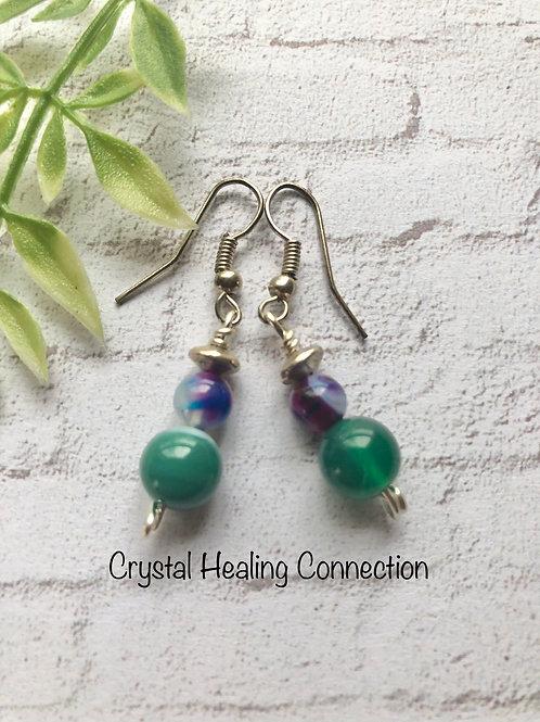 Mixed Agate 2 Bead Earrings