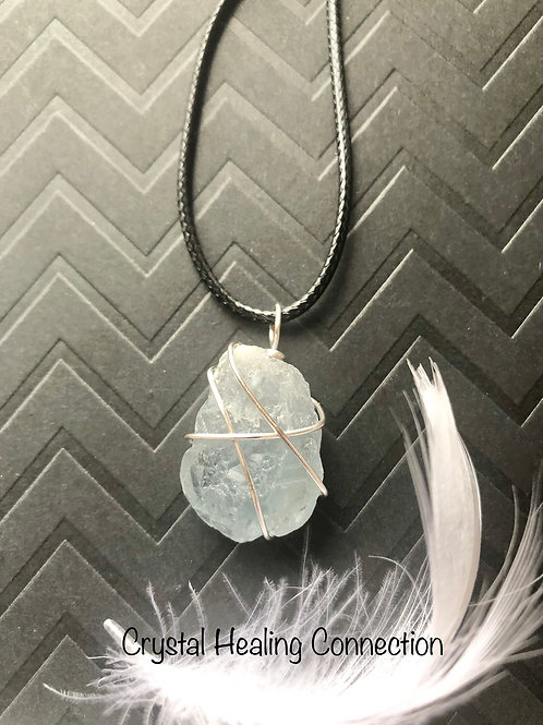 Wire Wrapped Rough Celestite Necklace