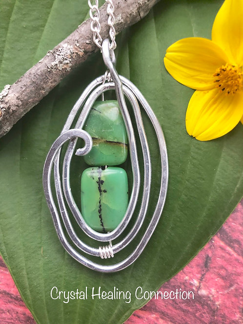 Chrysoprase Wire Wrapped Hammered Necklace