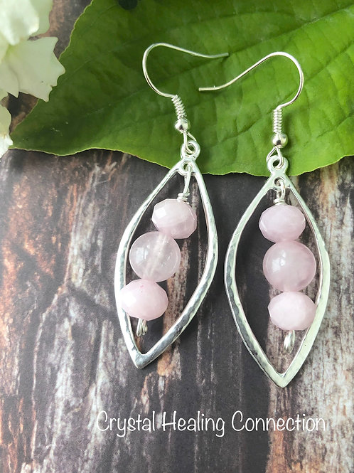 Rose Quartz Wire wrapped, Hammered Earrings