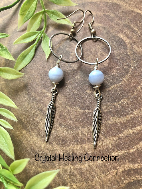 Blue Lace Agate Loop Feather Earrings