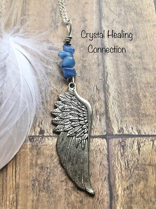 Blue Quartz Angel Wing Necklace
