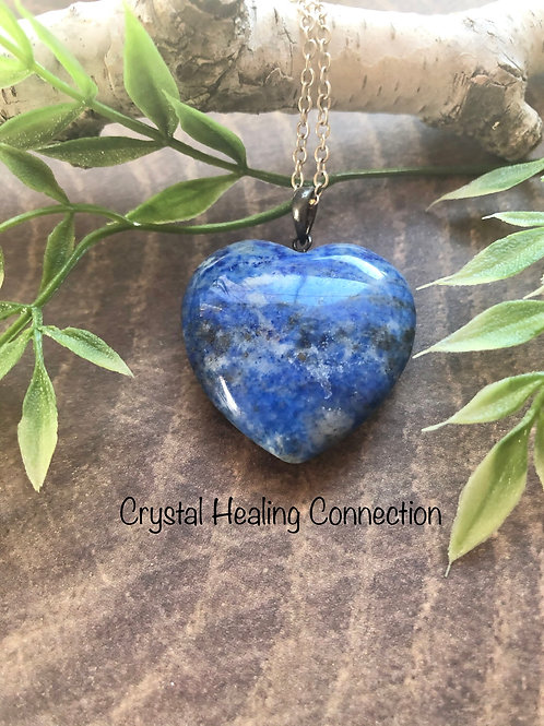 Lapis Lazuli Puffy Heart Necklace