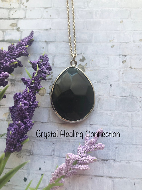 Black Onyx Faceted Oval Necklace