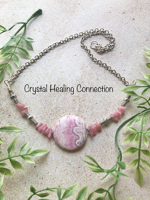 Rhodochrosite Circle Beaded Necklace