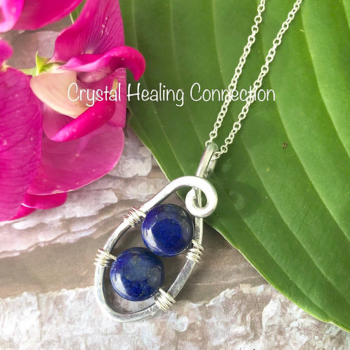 Lapis Lazuli Wire Wrapped  Puff Coin Necklace