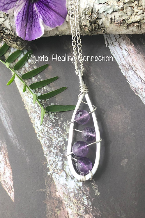 Amethyst Wire Wrapped Hammered Necklace