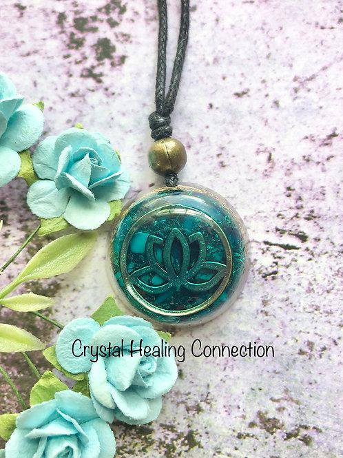 Teal Lotus Orgonite Necklace