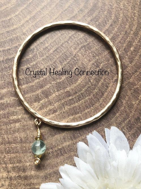 Fluorite Gold Bangle Bracelet