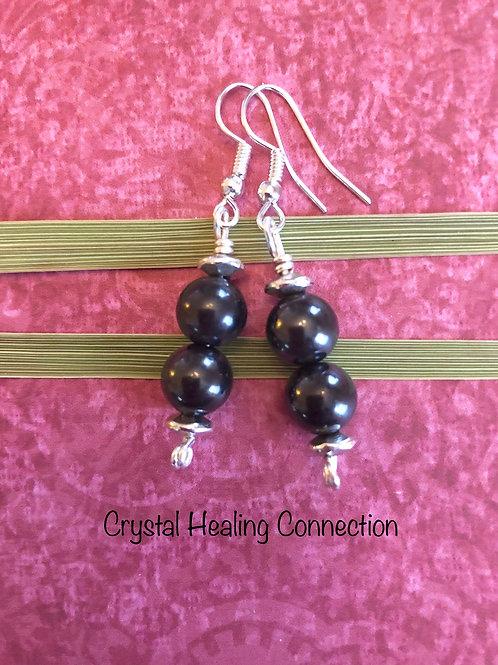 Shungite 2 bead Earrings