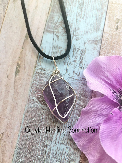 Rough Amethyst Wire Wrapped Stone Necklace