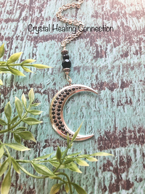 Black Onyx  Big Half Moon Necklace