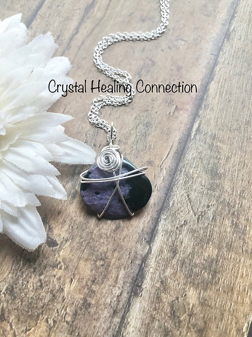 Wire Wrapped Charoite Necklace