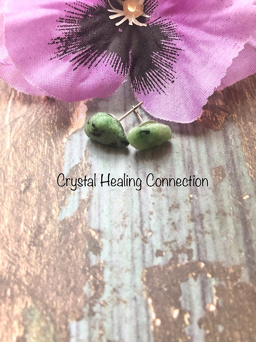 Natural Ruby In Zoisite Earrings