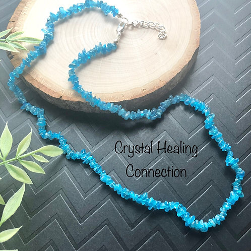 Blue Apatite Crystal Chip Necklace