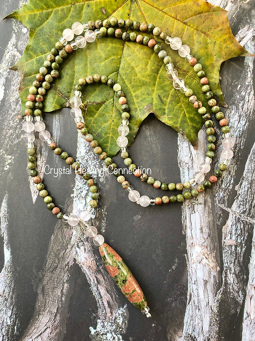 Unakite and Rose Quartz Beaded Necklace