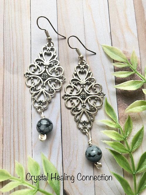 Snowflake Obsidian Filagree Diamond Earrings