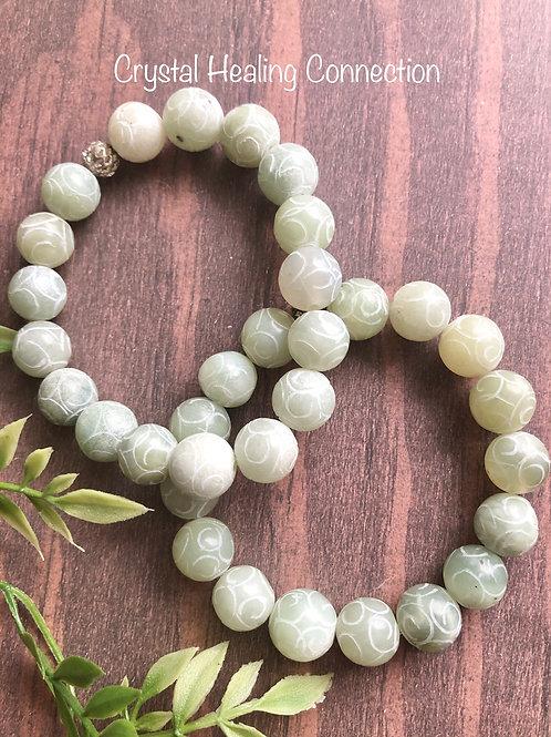New Jade Etched Beaded Bracelets