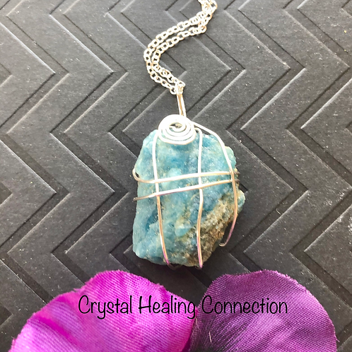 Wire Wrapped Natural Blue Apatite Necklace