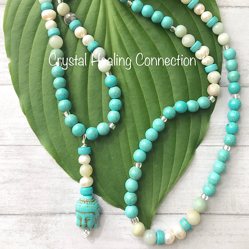 Howlite, Fresh Water Pearl and Amazonite Buddha Necklace