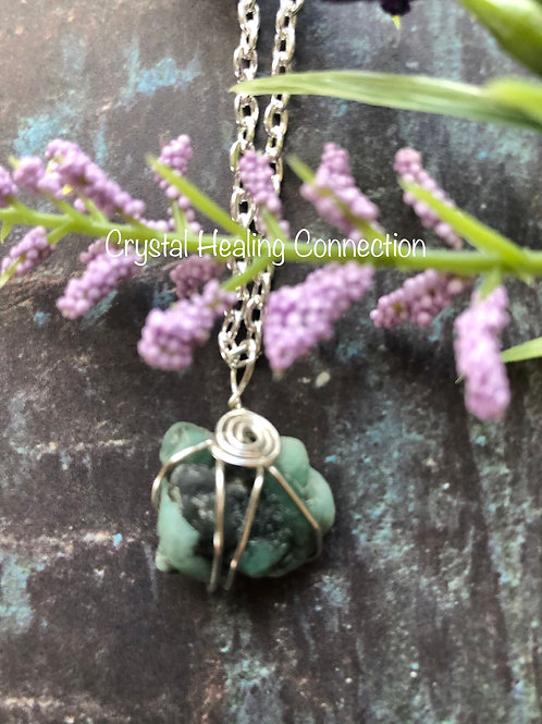 Wire Wrapped Natural Emerald Necklace