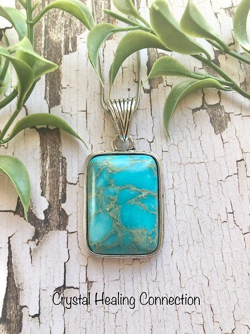 Blue Howlite Square Necklace