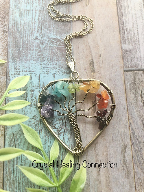 Chakra Tree of Life Heart Necklace