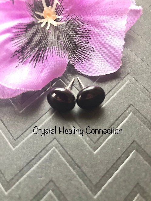 black Onyx Round Stud Earrings