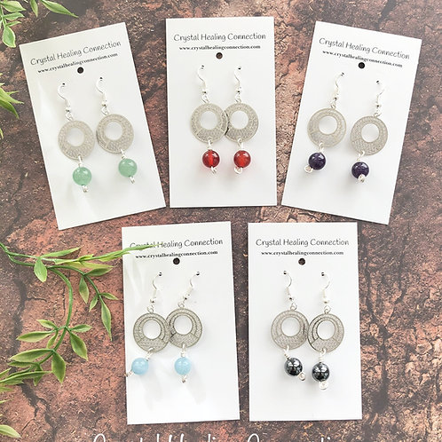 Gemstone Filagree Circle Earrings
