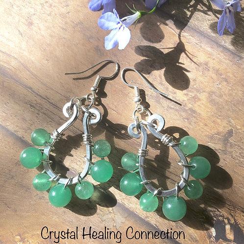 Green Aventurine Wire Wrapped Earrings